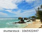 beautiful tropical  beach on... | Shutterstock . vector #1065422447