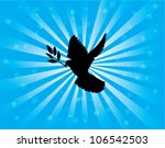 vector dove silhouette with olive branch on sunburst background