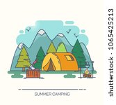 tent in wood or forest with... | Shutterstock .eps vector #1065425213