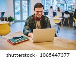 cheerful hipster guy with... | Shutterstock . vector #1065447377