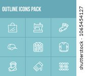 clothing icon set and lace with ...