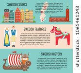 sweden banner set with sights ... | Shutterstock .eps vector #1065461243