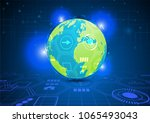globe and transparent hexagov... | Shutterstock .eps vector #1065493043