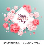 happy mothers day green... | Shutterstock .eps vector #1065497963