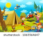 picnic in the woods kids are... | Shutterstock . vector #1065564647