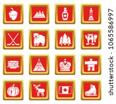 canada travel icons set vector... | Shutterstock .eps vector #1065586997