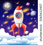 rocket in space. space ship... | Shutterstock .eps vector #1065612407