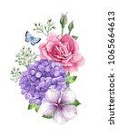 bouquet of flowers  rose  apple ...   Shutterstock .eps vector #1065664613