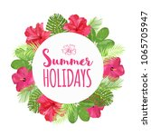 colorful flowers wreath banner. ... | Shutterstock .eps vector #1065705947