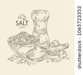 salt  spoon with salt  pink... | Shutterstock .eps vector #1065723353