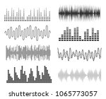 set of sound music waves. audio ... | Shutterstock .eps vector #1065773057