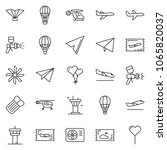 thin line icon set   fly ticket ... | Shutterstock .eps vector #1065820037