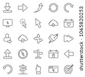 thin line icon set   hand... | Shutterstock .eps vector #1065820253