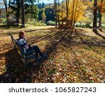 Woman On Bench And Open Air...