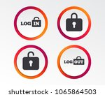 login and logout icons. sign in ... | Shutterstock .eps vector #1065864503
