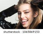 lady sexy in slicker or... | Shutterstock . vector #1065869153