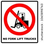 no forklift truck sign. red... | Shutterstock . vector #1065898763