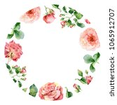 round floral frame of roses.... | Shutterstock . vector #1065912707