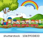 school field trip by train... | Shutterstock .eps vector #1065933833