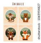 set of cute animals cards | Shutterstock .eps vector #1065954827