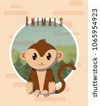 monkey cute animal card | Shutterstock .eps vector #1065954923