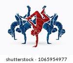 group of people dancing  dancer ... | Shutterstock .eps vector #1065954977