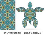 decorative doodle turtle with... | Shutterstock .eps vector #1065958823