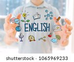 english with young man holding... | Shutterstock . vector #1065969233