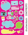 dear diary scrapbook elements.... | Shutterstock .eps vector #106598393