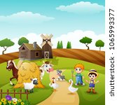 the farmers keeping the animals ... | Shutterstock .eps vector #1065993377
