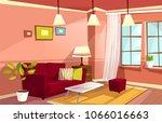 vector cartoon living room... | Shutterstock .eps vector #1066016663