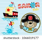 sailor cartoon with pirate hat. ... | Shutterstock .eps vector #1066019177