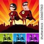 super heroes male and female ... | Shutterstock .eps vector #106607063
