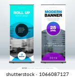 roll up banner stand... | Shutterstock .eps vector #1066087127