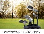 golf equipment on green field... | Shutterstock . vector #1066131497