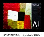 Small photo of MOSCOW, RUSSIA - MARCH 18, 2018: A stamp printed in Norway shows Norwegian Art by Inger Sitter, Art serie, circa 2008