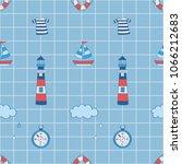 float  lighthouse  boat ... | Shutterstock .eps vector #1066212683