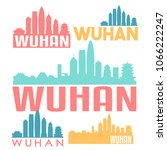 wuhan china flat icon skyline...   Shutterstock .eps vector #1066222247