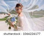 beautiful bride with wedding... | Shutterstock . vector #1066226177