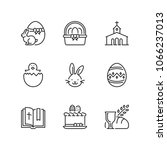 outline icons about easter day | Shutterstock .eps vector #1066237013