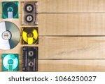 musical cassettes disk floppy... | Shutterstock . vector #1066250027