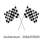 two racing flags crossed... | Shutterstock .eps vector #1066255043