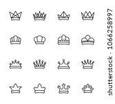 crown line icon set. editable...