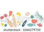 cooking horizontal pattern.... | Shutterstock .eps vector #1066279733