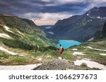 grinnell lake in the glacier... | Shutterstock . vector #1066297673