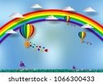 paper cut heart shape with...   Shutterstock .eps vector #1066300433