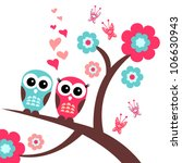 pretty romantic card with owls | Shutterstock .eps vector #106630943