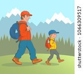father and his little son go... | Shutterstock .eps vector #1066309517