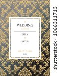 wedding vintage card. damask... | Shutterstock . vector #1066311713