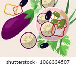 still life with eggplant ... | Shutterstock . vector #1066334507